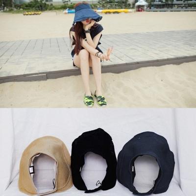梨花HaNA-韓國棉麻我要去海邊空頂寬沿遮陽帽