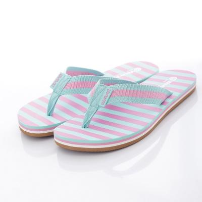 WAVE3【女】台灣製布織帶條紋人字夾腳拖~水藍粉
