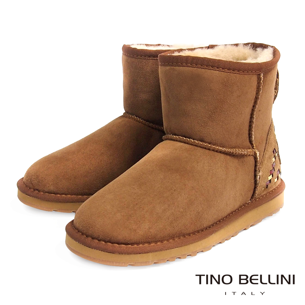 Tino Bellini 雪地精靈圖騰真皮短筒雪靴_棕