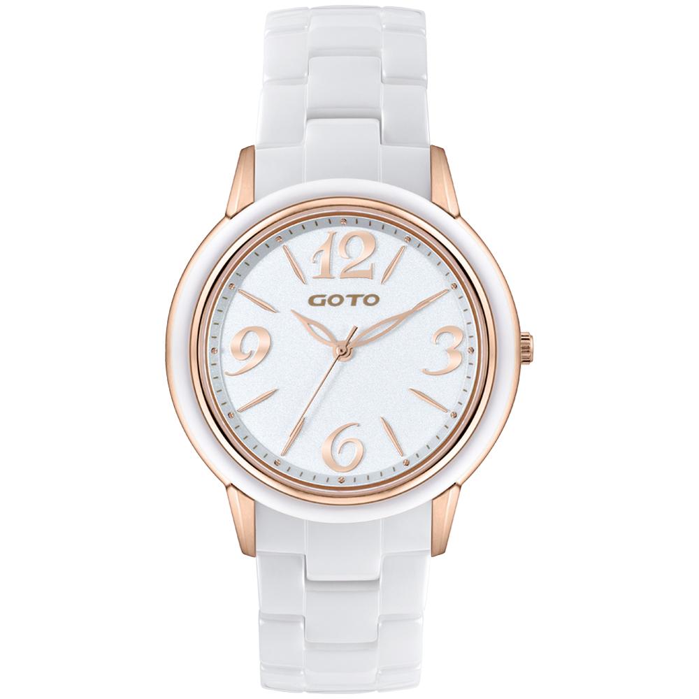 GOTO Light SC 時尚陶瓷腕錶-IP白/38mm