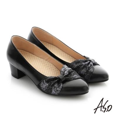 A.S.O 拇指外翻 真皮雙色蝴蝶結飾釦奈米尖頭低跟鞋 黑色