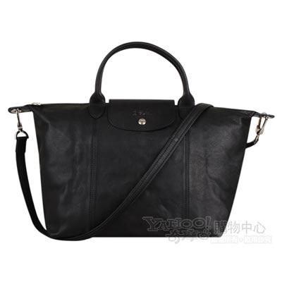 Longchamp Pliage Cuir小羊皮系列手提肩背包(中/黑)