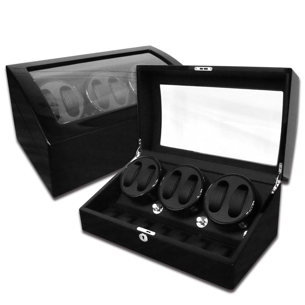 機械錶自動上鍊收藏盒 3旋6入錶座轉動+7入收藏 鋼琴烤漆 - 黑色