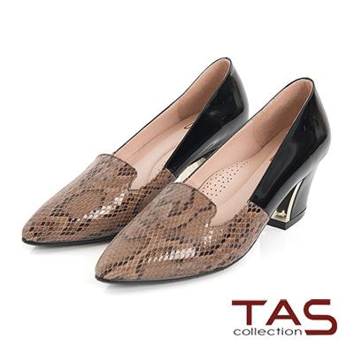 TAS-鱷魚壓紋牛皮拼接金屬樂福高跟鞋-迷人卡其