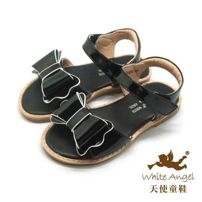 天使童鞋-C 2402  巴黎浪漫蝴蝶結涼鞋 (中-大童)-黑