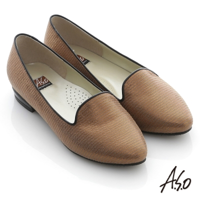 A.S.O 英式閃耀 真皮橫條網格閃耀樂福平底鞋 銅