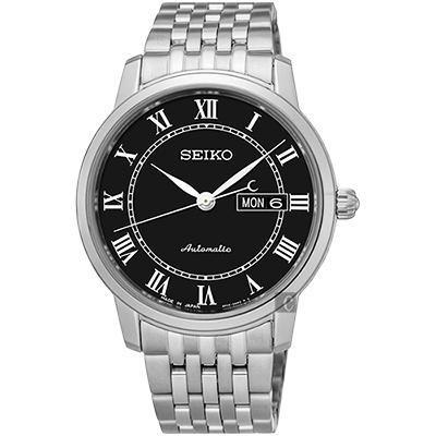 SEIKO精工 Presage 羅馬經典機械腕錶(SRP765J1)-黑/40mm