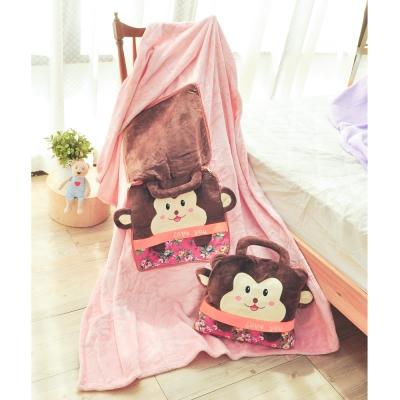 亞曼達Amanda 立體卡通兩用法萊絨抱枕毯子-福氣猴