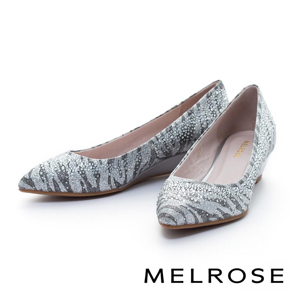 MELROSE 銀河光澤晶鑽尖頭楔型鞋-灰