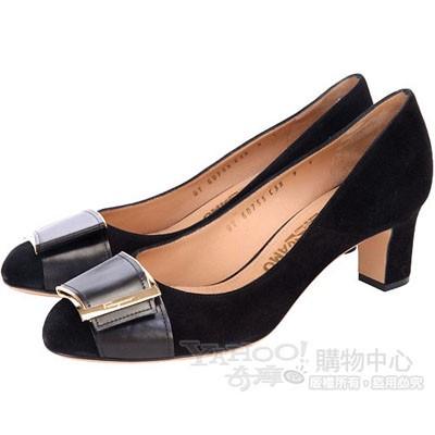 Salvatore Ferragamo 黑色麂皮釦帶金屬飾粗跟鞋