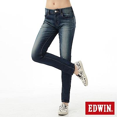 EDWIN 窄直筒 迦績褲JERSEYS紅布邊牛仔褲-女-石洗綠