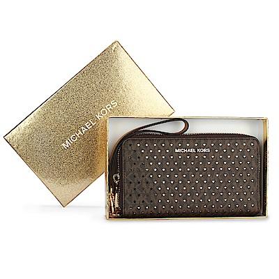 MICHAEL KORS 星星鏤空滿版LOGO防刮皮革手機包/中夾禮盒-深咖色