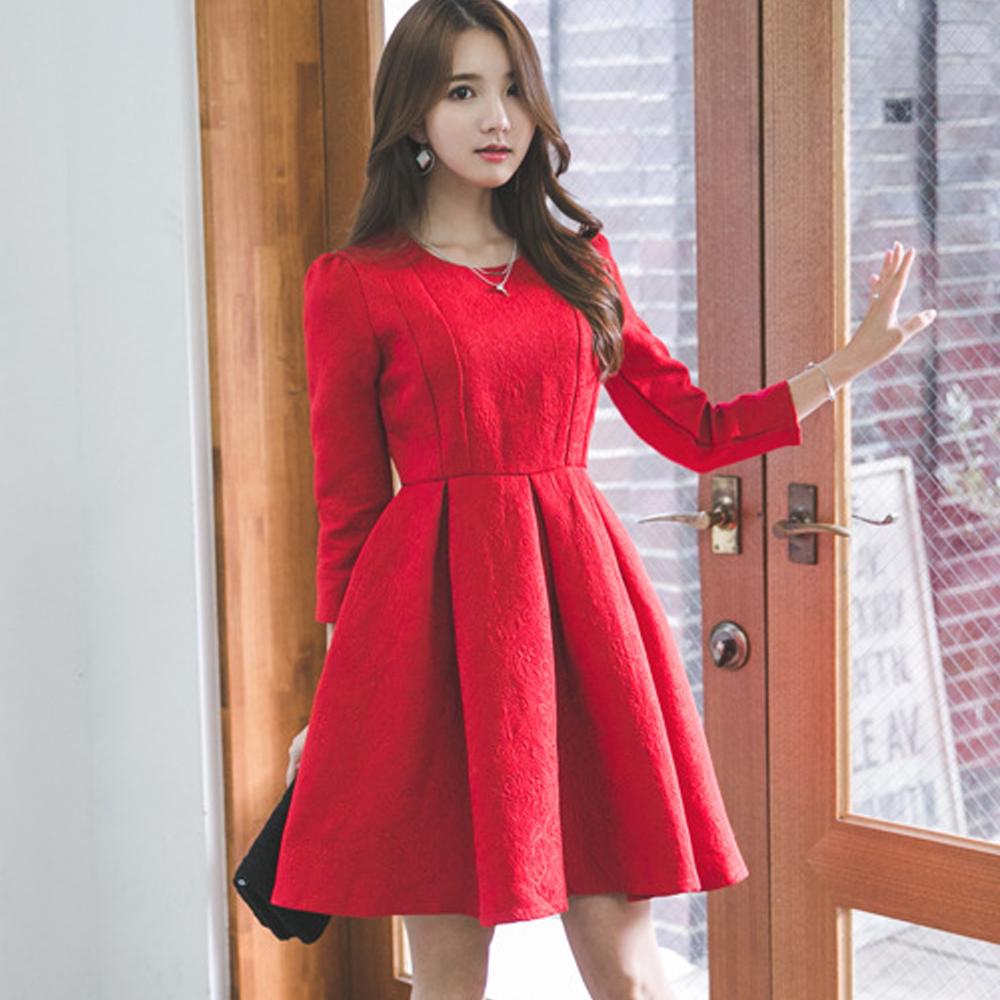 花紋收腰立體壓摺裙長袖洋裝(紅色)-Kugi Girl