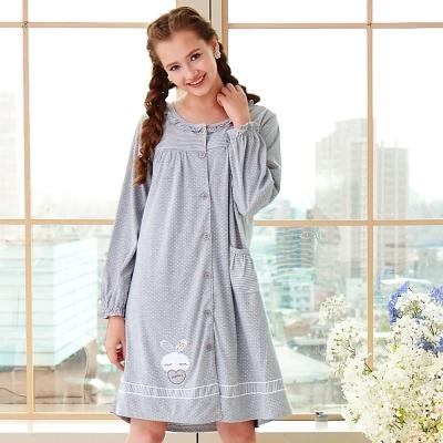 睡衣 精梳棉柔針織 長袖連身睡衣(65209)麻灰色 蕾妮塔塔