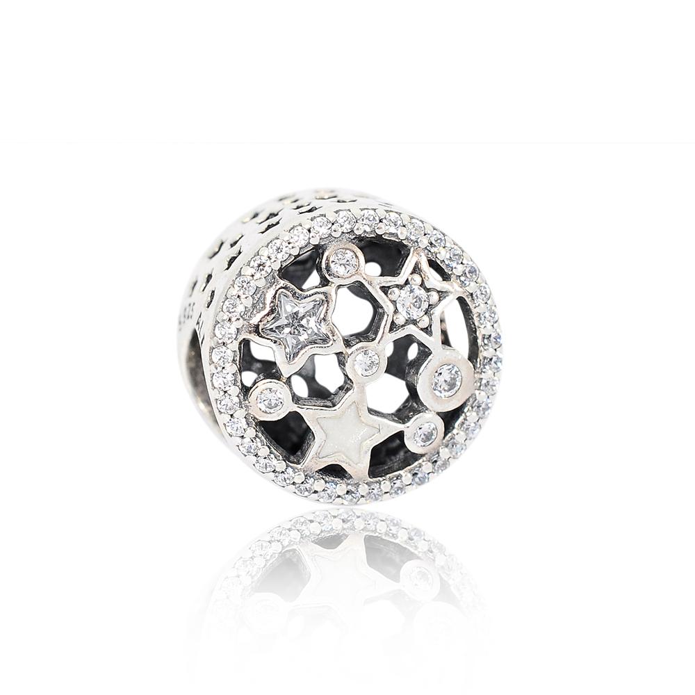 Pandora 潘朵拉 閃爍星辰白色塘瓷 純銀墜飾 串珠