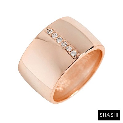 SHASHI 紐約品牌 Cameron 鑲鑽玫瑰金寬版戒指 925純銀鑲18K玫瑰金