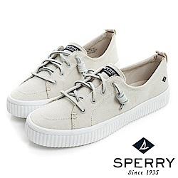 SPERRY 街頭風尚經典帆布帆船鞋(女)-象牙白