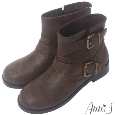 Ann'S復古擦色古銅雙帶圓頭平底短靴-咖