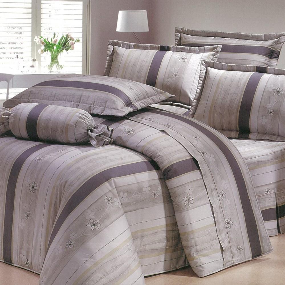 eyah宜雅 全程台灣製100%精梳純棉雙人床罩兩用被全舖棉五件組 灰白物語