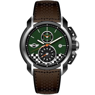 MINI Swiss Watches 賽車旗幟計時腕錶-墨綠-45mm