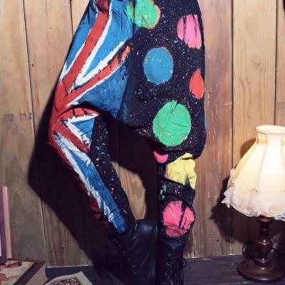 古著 大米字國旗拼接彩色圓點潑墨低檔束口飛鼠褲