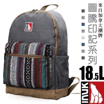 【加拿大 INUK】圖騰印記 潮牌人體工學避震後背包18.5L_砂石灰