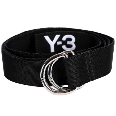 Y-3-LOGO設計雙環織布腰帶-黑色