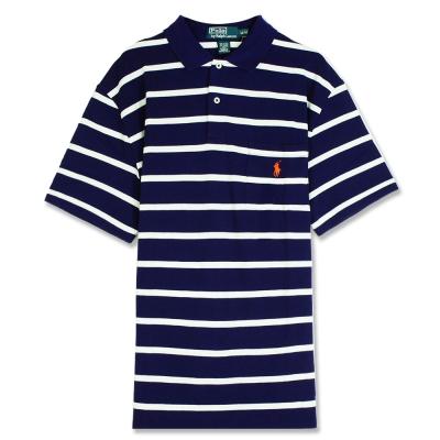 Ralph Lauren 小馬口袋條紋POLO衫(紫白)