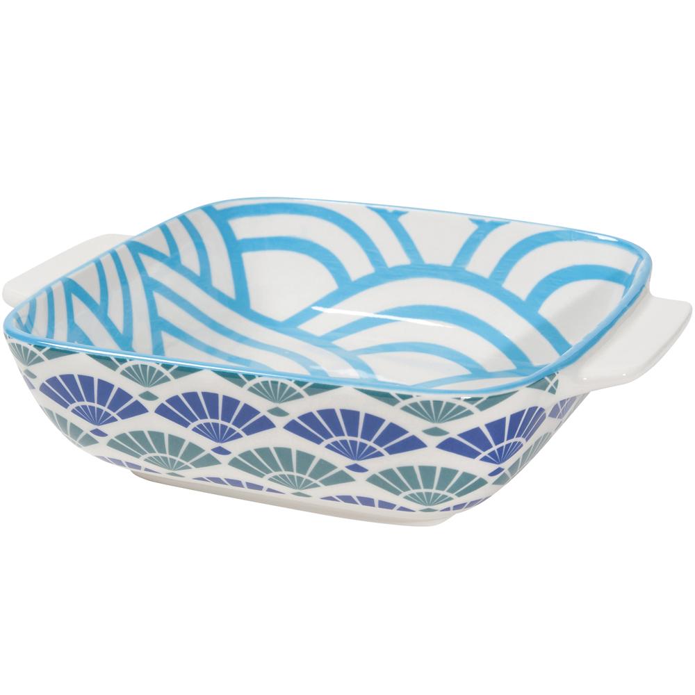 NOW 圖騰方型深餐盤(摺扇藍20cm)