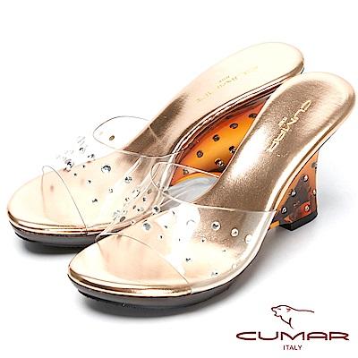 CUMAR仙杜瑞拉-水鑽裸肌美腳楔形跟玻璃鞋-粉金色