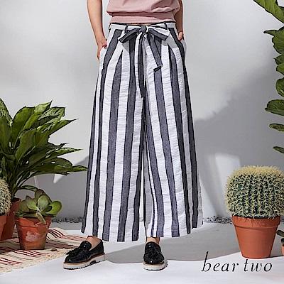 beartwo 條紋變化綁結腰帶寬褲(二色)