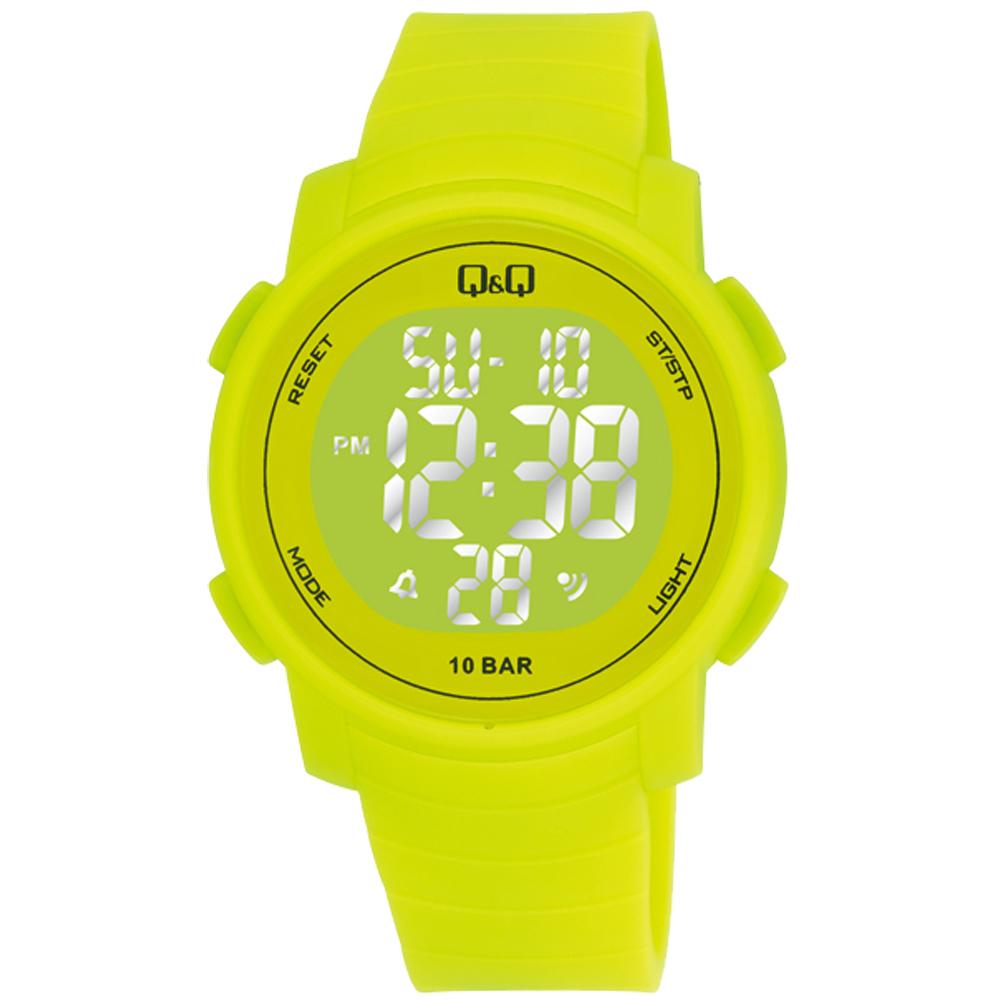 Q&Q 多色酷炫潛水膠帶風功能電子錶-黃/44mm