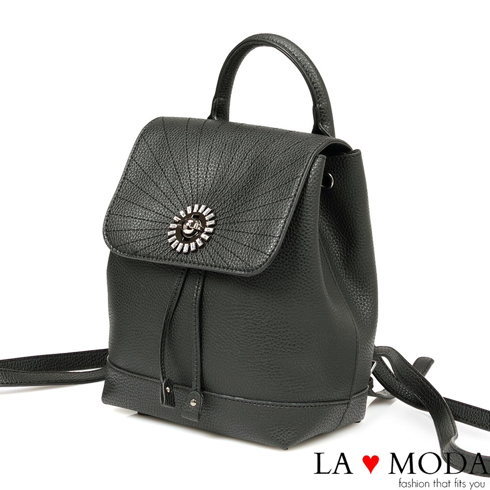 La Moda 質感滿分寶石水鑽綴飾大容量後背包(黑)