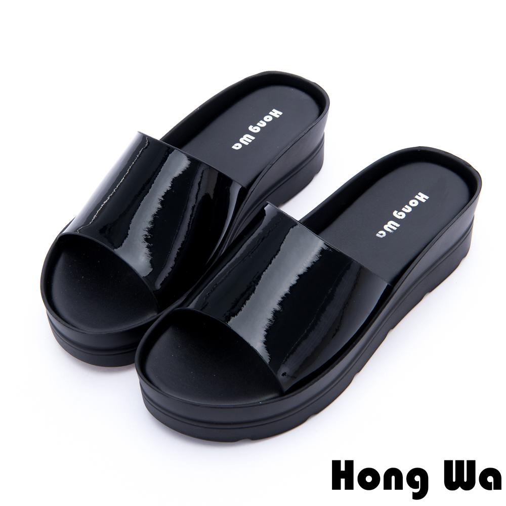 Hong Wa - 極簡時尚休閒厚底拖鞋 - 黑