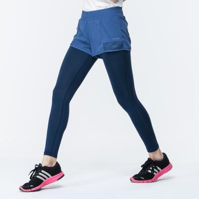 【ATUNAS 歐都納】女款運動假兩件彈性長跑褲 A1-PA1721W 灰藍