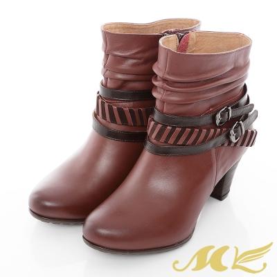 MK-臺灣製全真皮-繞帶條紋抓皺粗跟短靴-酒紅