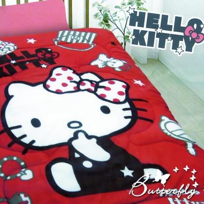 HELLO KITTY 凱蒂貓 搖粒絨暖暖被 時尚寶盒-紅