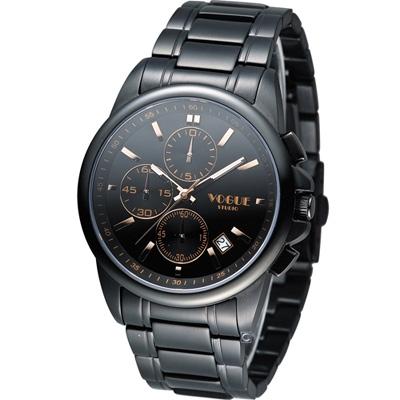 VOGUE 黎明之戰計時時尚腕錶-IP黑x玫塊金時標/40mm