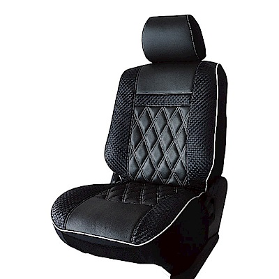 【葵花】量身訂做-汽車椅套-日式合成皮-竹編格紋-B款-雙前座