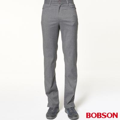 BOBSON 男款伸縮銀灰條狀煙管褲
