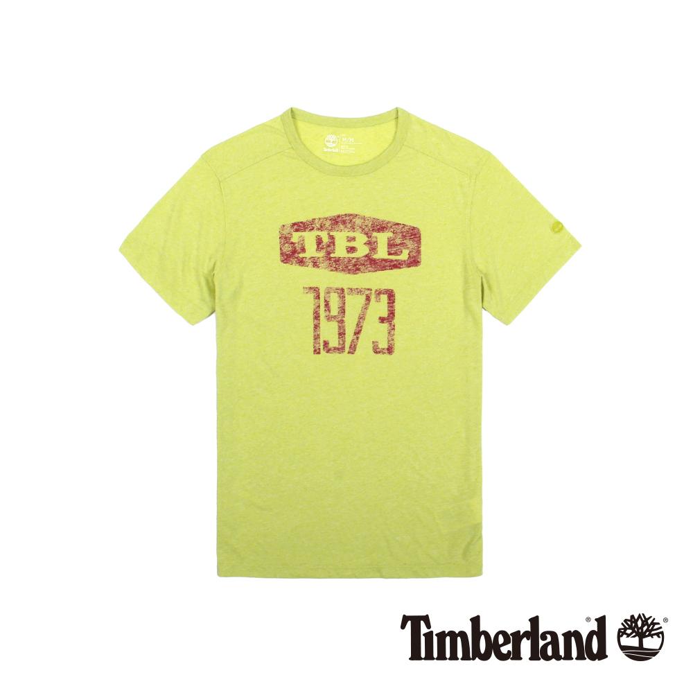 Timberland 男款黃綠色品牌印花修身短袖T恤