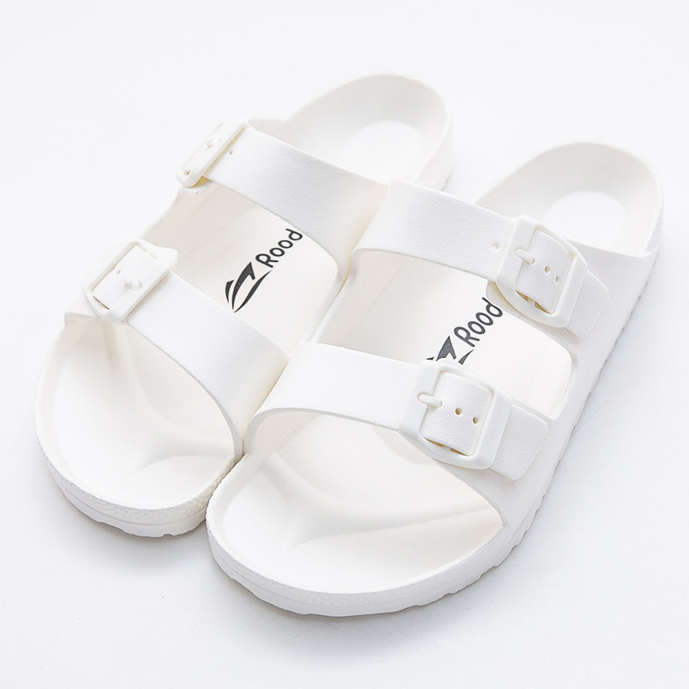Roadpacer-女雙釦環休閒拖鞋-白