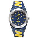 福利品 New Balance 574系列 NB LOGO皮革時尚腕錶-藍黃/43mm