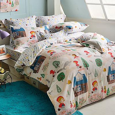 義大利Fancy Belle 小紅帽世界 雙人純棉床包枕套組