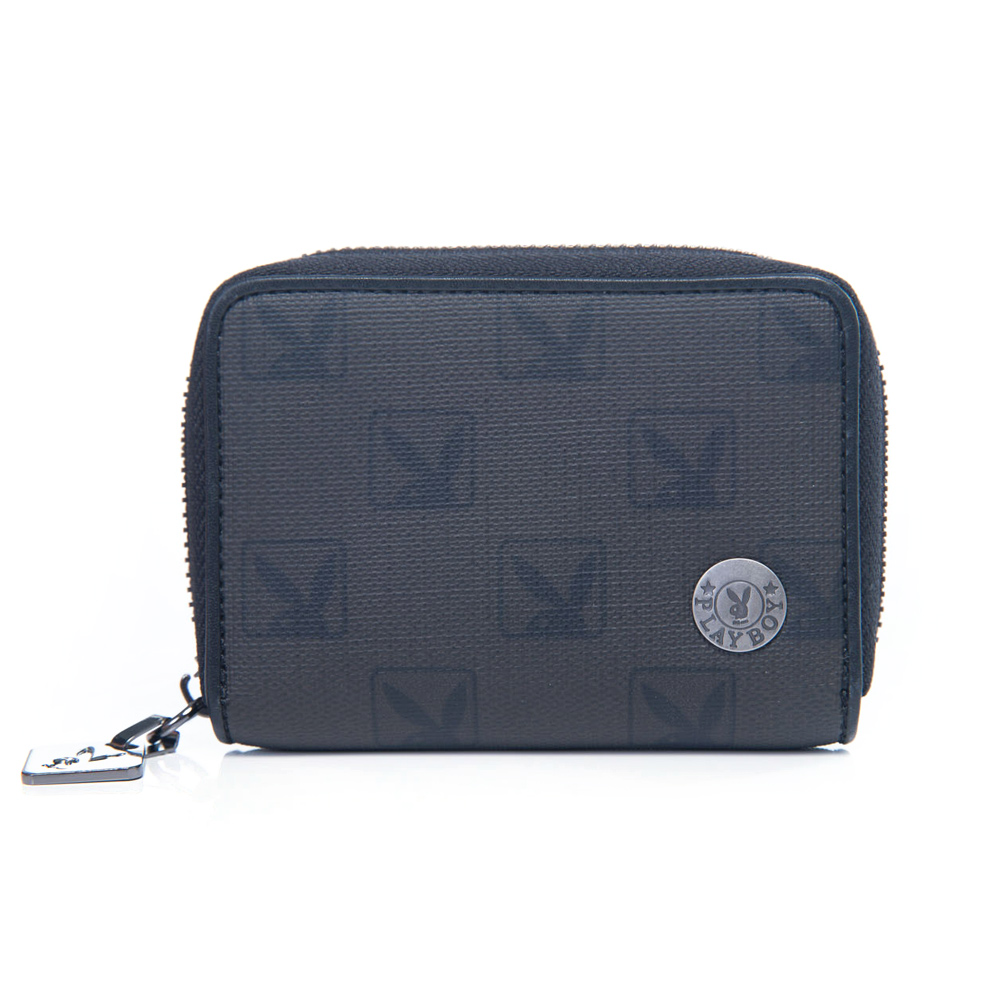 PLAYBOY- P-Dandy 系列 卡夾零錢包-黑色
