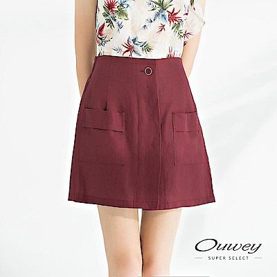 OUWEY歐薇 輕薄亞麻造型剪裁百搭褲裙(可/藍/紅)