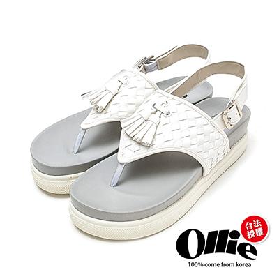 Ollie韓國空運-正韓製編織流蘇人字厚底夾腳涼鞋-白