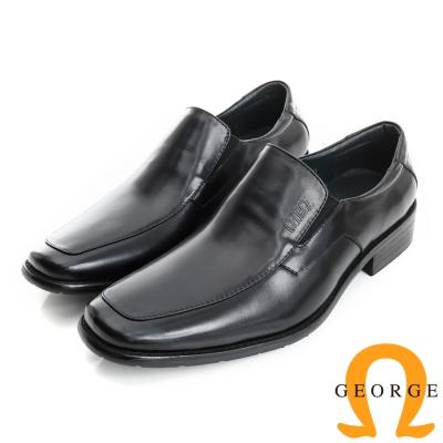 GEORGE 喬治-經典系列 真皮直套式紳士鞋皮鞋(男)-黑色