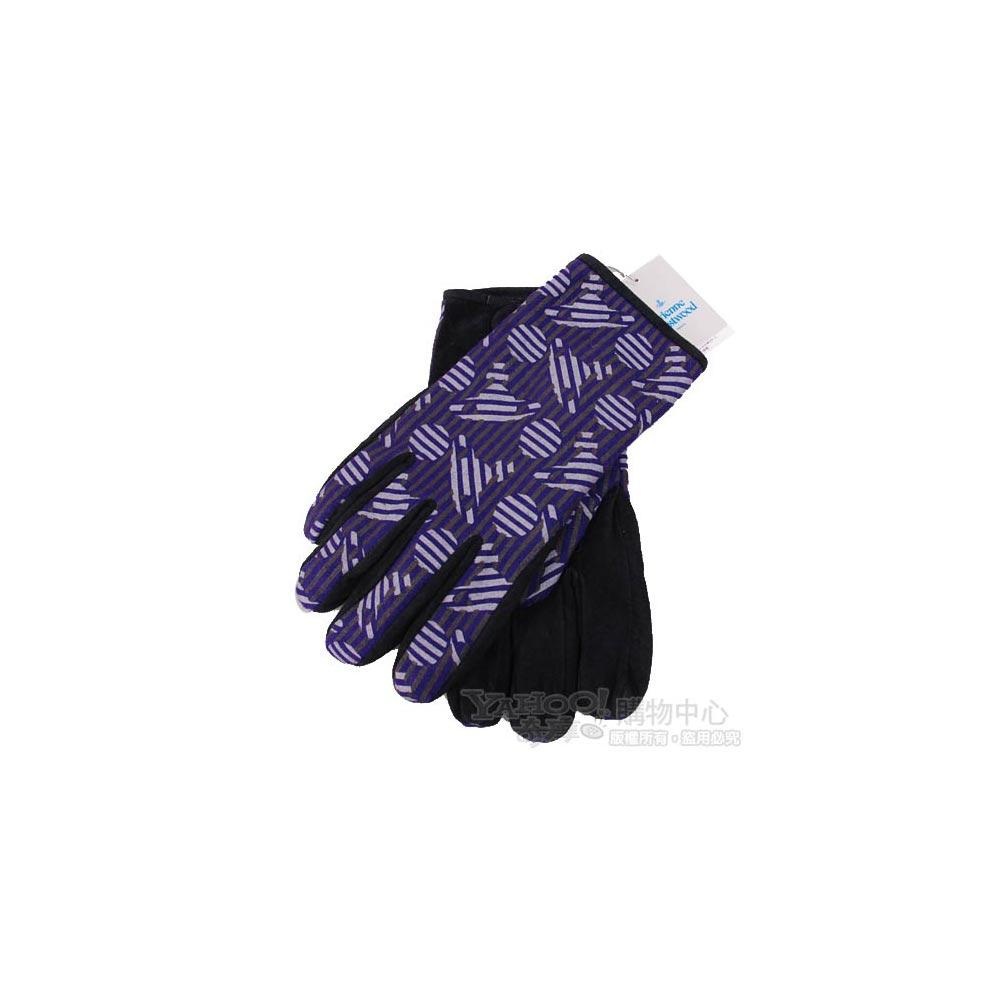 Vivienne Westwood 繽紛行星LOGO豚革造型手套(黑紫)