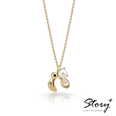 STORY故事銀飾-SNOW系列-Mistletoe槲寄生天然珍珠項鍊YG